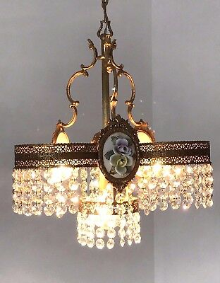 Vintage Italian Chandelier Brass  with Crystal prisms  Porcelain Roses  Lamp