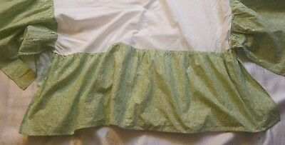 carters baby crib dust ruffle floral green and white euc