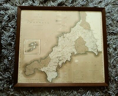 1804 Original print Antique Map of the English County of Cornwall, beautiful