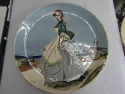 Australian Pottery Martin Boyd Hand Painted Lady Beach Plate Art Studio Ceramic