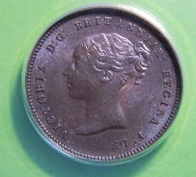 Great Britain 1844 1/2 Farthing *Repunch Letters STRONG E/E/N?* ANACS AU 58 Coin