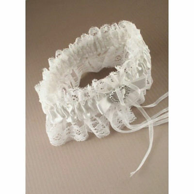 Bridal Garter White with Crystal Heart Wedding New Ribbon & Lace Hen Party Bride