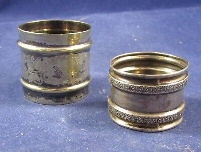 Lot of 2 Vintage Silver Napkin Rings (One Sterling) - Age Unknown
