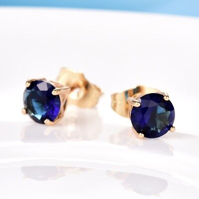 Elegant Charms 24K Gold Filled Blue Sapphire  Gemstone Stud Earrings For Women