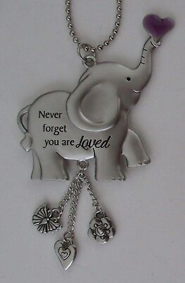 s Never forget ALWAYS REMEMBER YOU ARE LOVED Elephant car charm ornament ganz