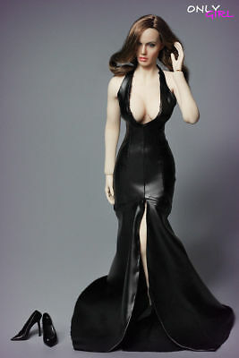 "ONLYGIRL LG04 Angelina Jolie Head Carving Sexy Black Deep V Dress 1/6 F 12"" Toys"