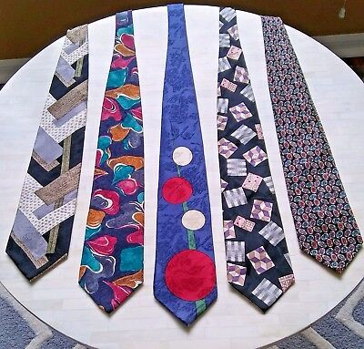 5 Vintage Men's Neck Ties 100% SILK HANDMADE Designer Italy England Multi-Color