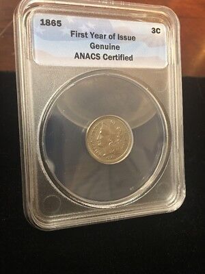 1865 Three Cent 3CN Obverse Die Breaks XF/AU ANACS  No Reserve Free Shipping