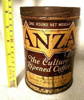 Vintage/rare Anza The Culture Ripened Coffee Tin-One Pound