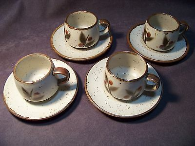 Four Vintage Ortagiri BITTERSWEET Cups with saucers.