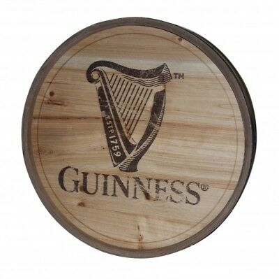 Guinness Classic HARP Logo Wooden Barrel Top Round Wall Art Pub Bar Sign NEW
