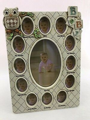 NEW Baby First Year Owl Photo Frame Newborn to 12 Months Collage Shower Keepsake