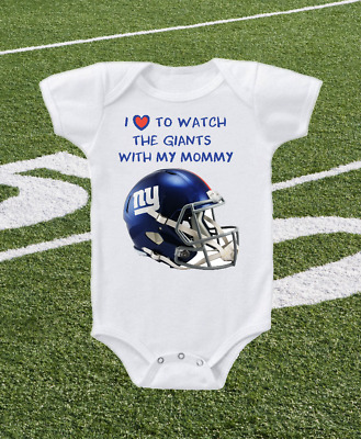 New York Giants Helmet I Love To Watch With Mommy Onesie Or Tee