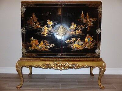 Chinoiserie Lacquer Cabinet Gilt Wood Base All Original Circa 1940, Mid Century