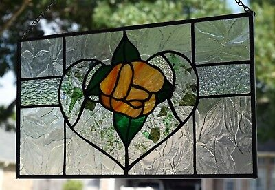 Victorian Heart and Flower Stained Glass Window Panel