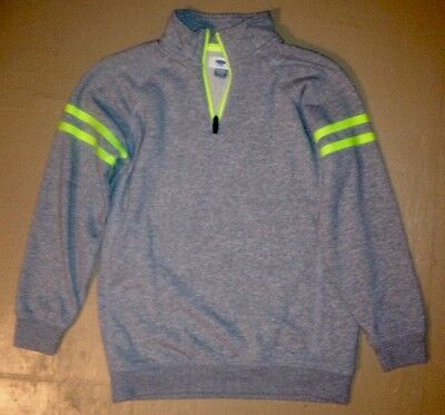 Old Navy Youth X Large 14 -16 Gray And Neon Quarter Zip Sweat/ Pullover