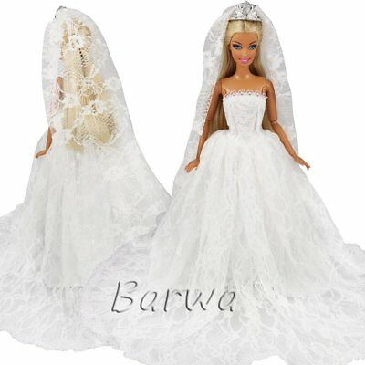 Barwa White Wedding Dress with Long Veil Evening Party Princess White Lace Gown