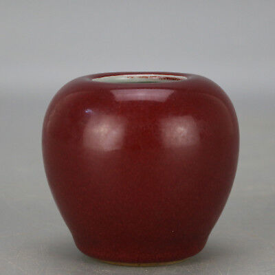Chinese old hand-carved porcelain red glaze apple form writing-brush washer Z