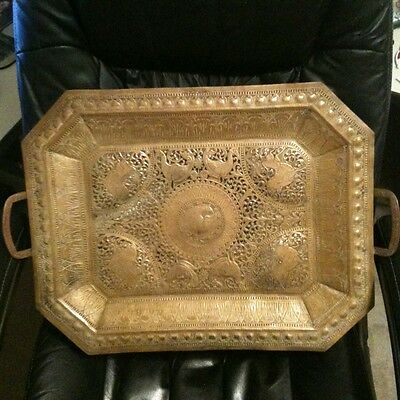 Vintage Indian Middle Eastern Style Ornate Hand Made Serving Tray Wall Decor 22""
