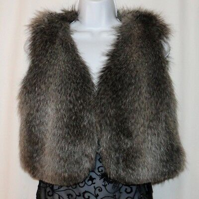 """New PARKHURST """"Outdoor Edition"""" SILVER WOLF Faux Fur Lined SOFT VEST M New Tags"""