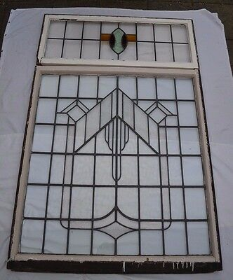 Art deco leaded light stained glass window set - can separate R563 INSURANCE INC
