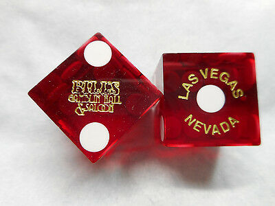 Pair of Closed BILL'S GAMBLIN HALL LV Casino Dice - Clear Dark Red, #s 2985