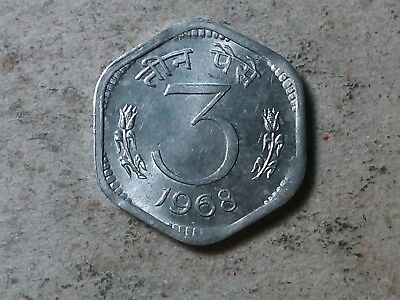 India 3 paise 1968 hexagonal Lion coin