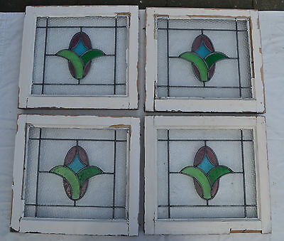 4 British leaded light stained glass windows. R477. WORLDWIDE DELIVERY!!!
