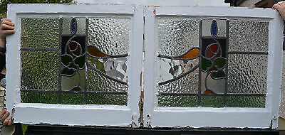 Leaded light stained glass window pairs - above door? R344g. DELIVERY!!!
