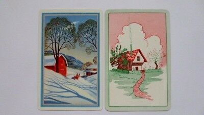 Set of 2 Single Swap/Playing Cards - Cottage Snow & Cosy Scenes