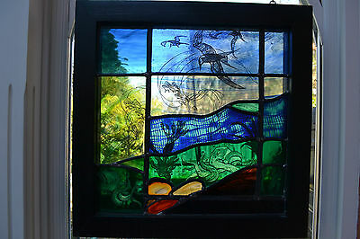 Artwork handpainted leaded light stained glass panel. FC002 WORLDWIDE DELIVERY!