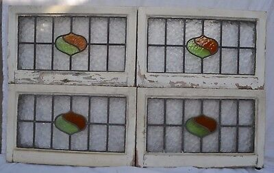 4 British leaded light stained glass windows. R631b. WORLDWIDE DELIVERY!!!