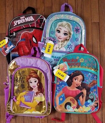 "Kids 16"" Full-Size Backpack - Elsa - Spiderman - Elena - Princes Bella - Etc"