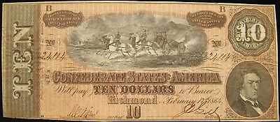 1864 Confederate $10.00 Note From F.w.mahood Estate. Otey's Battery. Civil War.
