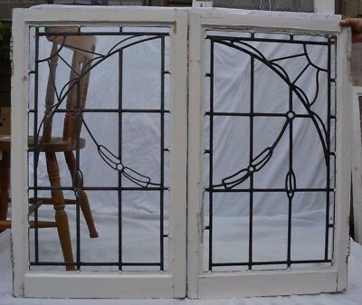 2 art deco leaded light stained glass windows. R655. WORLDWIDE DELIVERY!!!