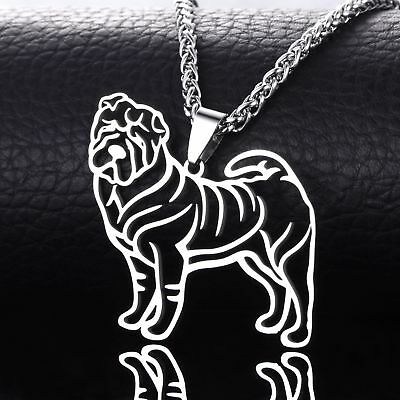 Stainless Steel Shar Pei Chinese Shar-Pei Sharpei Pet Dog Charm Pendant Necklace