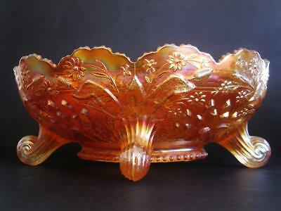 Fenton carnival glass large banana boat bowl, Thistle & cattails and water lilly