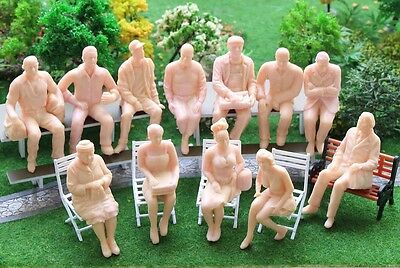 12Pcs G Scale 1:25  ALL DIFFERENT SKIN COLOURED FIGURES SEATED