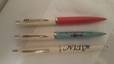 Vintage Lot of 3 Double Heart Papermate Advertising Ballpoint Ink Pens
