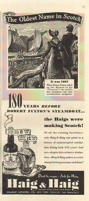 1939 Haig Five Star ~ Pinch Scotch Whiskey ~ Fulton Clermont Steamship Ad MMXV