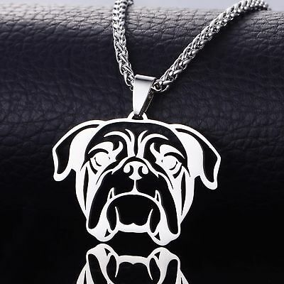 NEW Stainless Steel American English Bull Bulldog Pet Dog Charm Pendant Necklace
