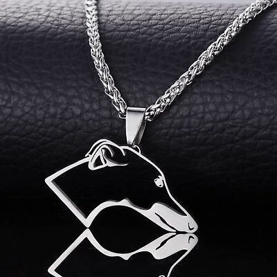 Stainless Steel Greyhound Grey Hound Dog Outline Pet Tag Charm Pendant Necklace