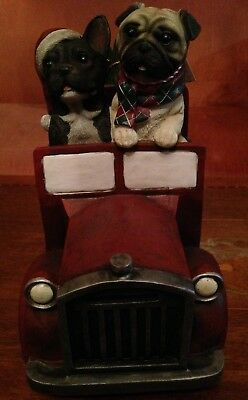 STUNNING! PUG - BOSTON TERRIER in VINTAGE Retro Style TRUCK CHRISTMAS DECORATION
