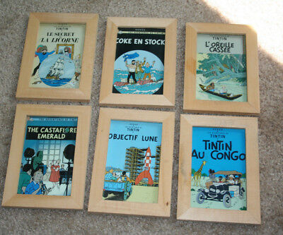 6 The Adventures Of Tin Tin By Herge Book Covers Art Cards Framed (C)