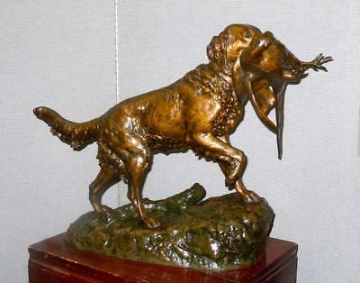 Emile Lienard Bronze Hunting Irish Setter Sporting Dog With Pheasant 19c French