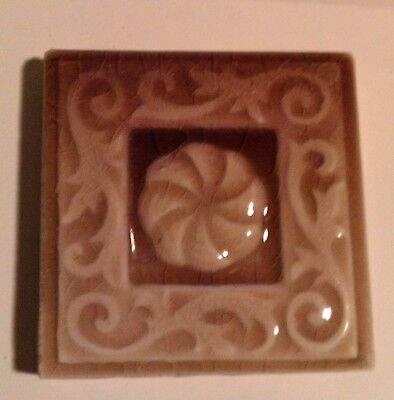 "antique Trent  tile ~ 3"" x 3"" ~ raised nouveau design ~ mauve"