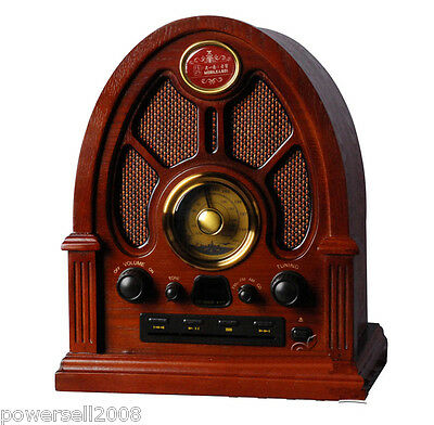 Wave Band Fashionable Classical Wooden L 29.8*W 24*H 35.5CM Red Desktop Radio