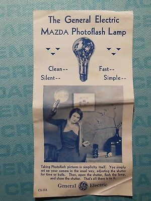 General Electric Mazda photoflash lamp, 1930s ad flyer