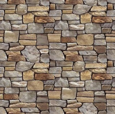 196 X 71 X 1Mm  Brick/stone Wall Treated Paper Bumpy Sheets 3D Look And Feel