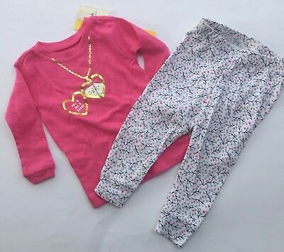 Baby Gap Girls Pajamas Long-Sleeve Cotton Pink Cats Hearts Two Piece 6-12 Months